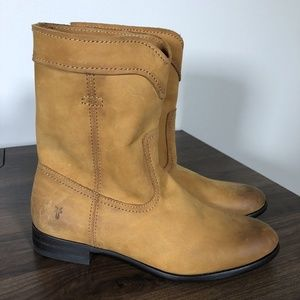 New Frye Cara Roper Boots Sz 6 Short Riding Cognac